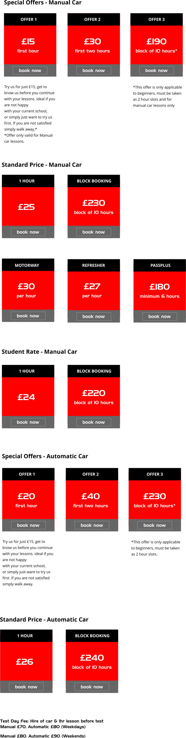 lesson prices oadby