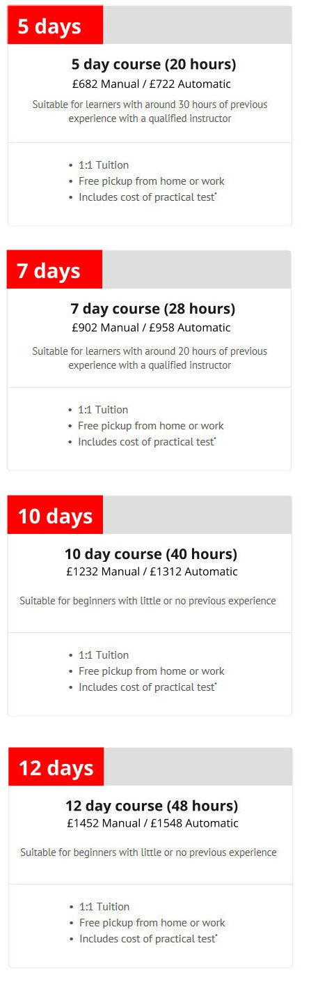 intensive driving lesson prices